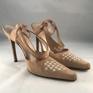 Christian Dior Woven Suede/Leather Heels
